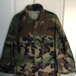 Vintage 1980s Military Issue Camo Flannel